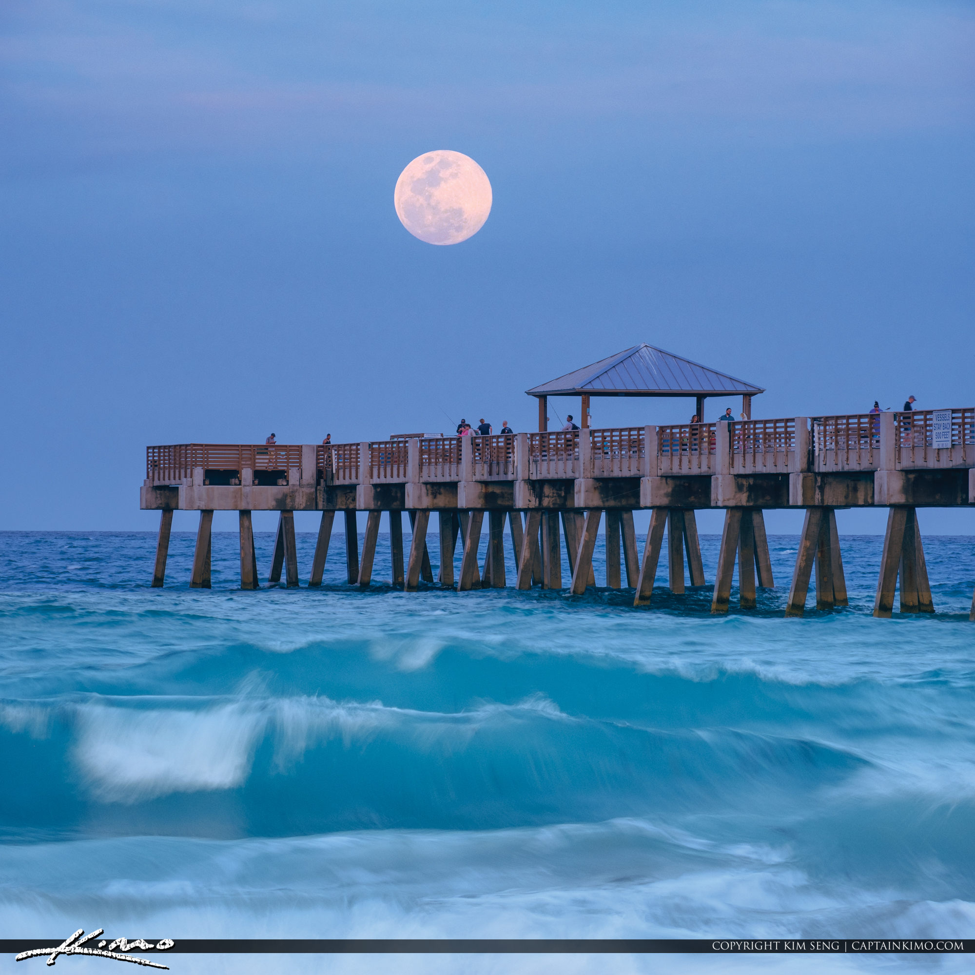 Juno Beach Pier Bluewater Moon Rise Atlantic Ocean