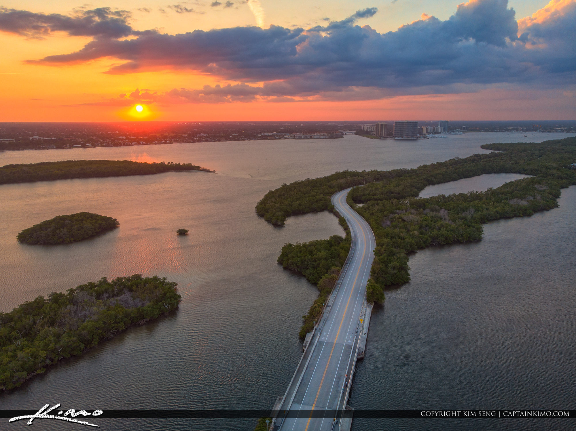 Singer Island Sunset Aerial Over Burnt Bridge