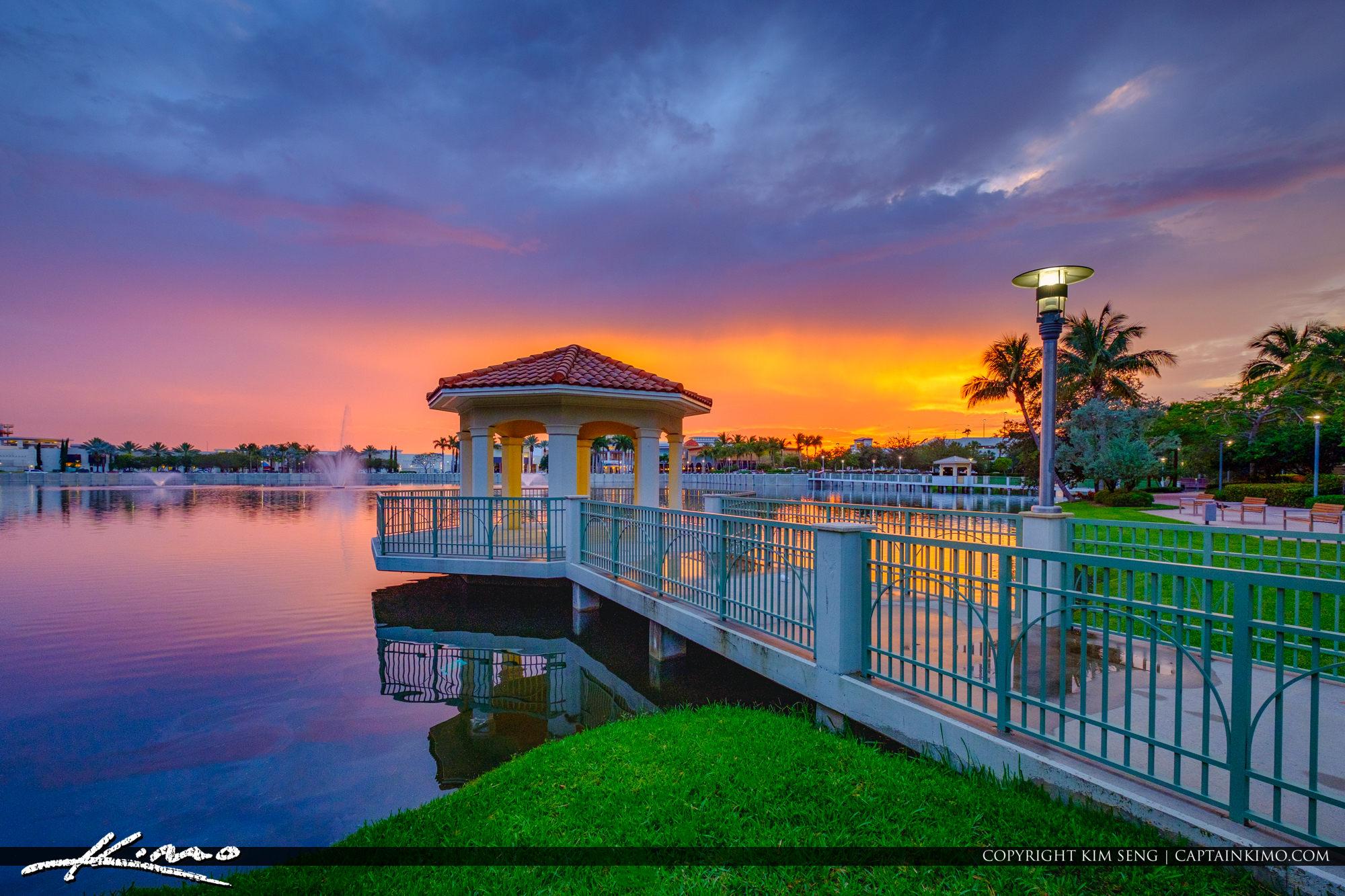 Gazebo Sunset at Lake Downtown at the Gardens