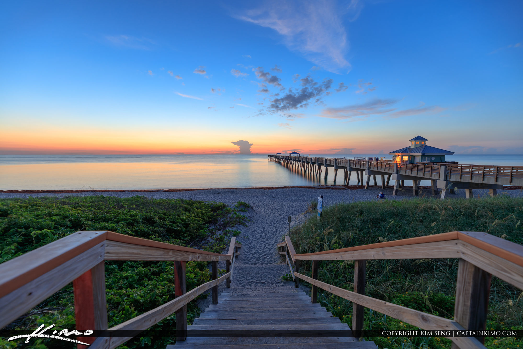 Juno Beach Pier Early Morning Blue Sunrise