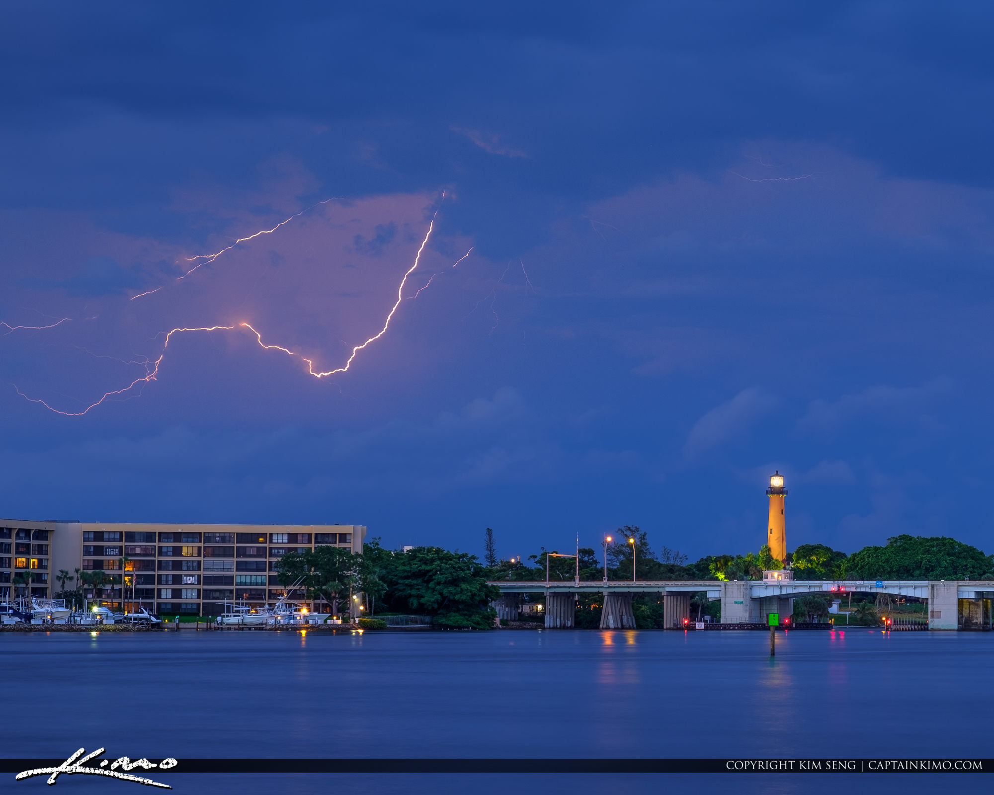 Lightning Storm Over the Jupiter Lighthouse North Palm Beach Cou