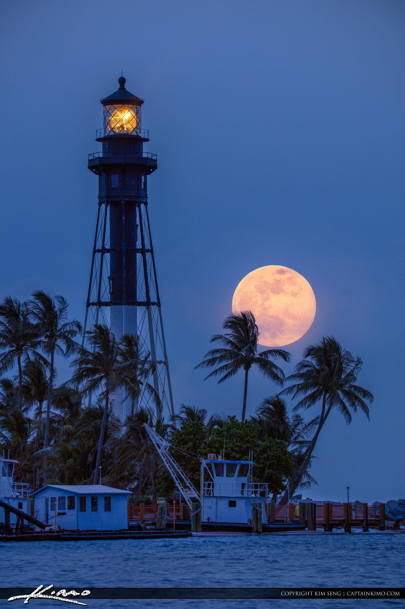 Hillsboro Lighthouse Strawberry Moonrise Pompano Beach Inlet