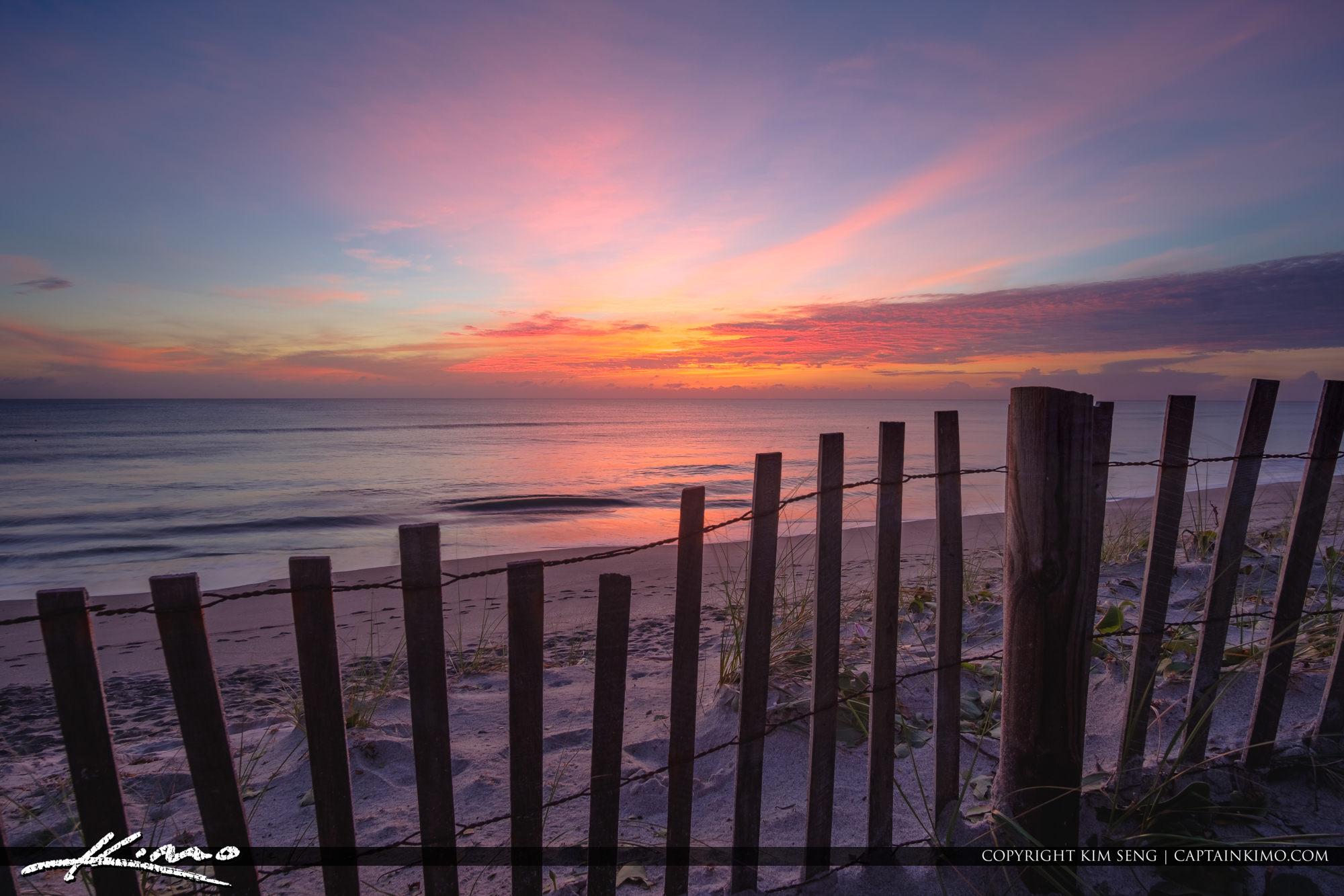 Jupiter Island Beach Fence Sunrise Coral Cove Park