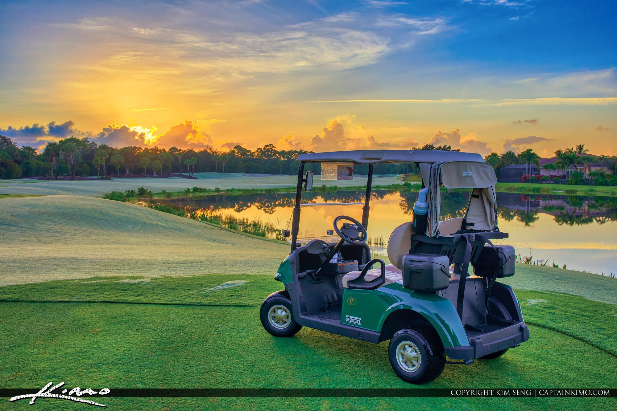 EZ Go Golf Cart at Mirasol Golf Course Sunrise in Palm Beach Gardens