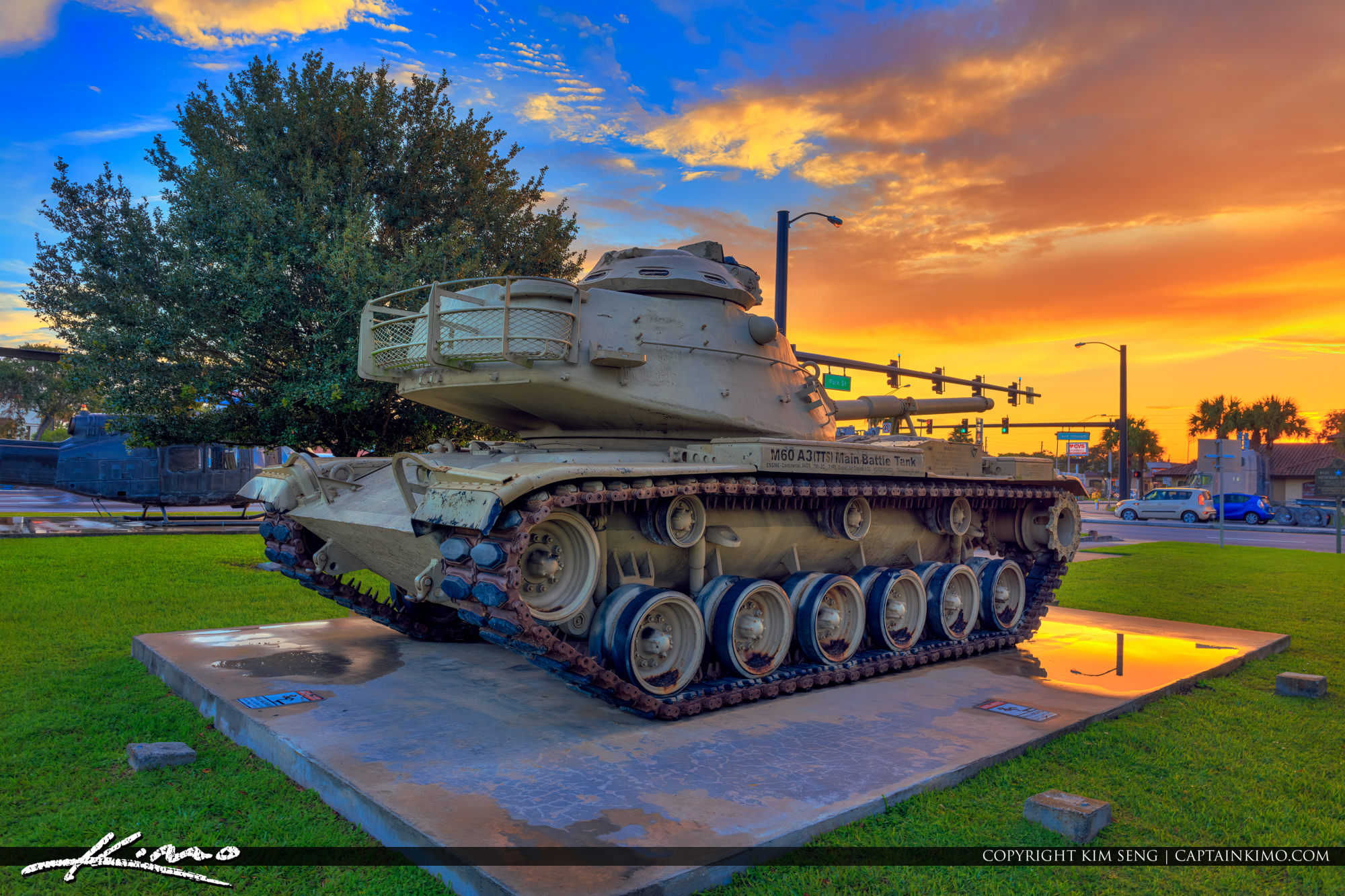 Okeechobee City Sunrise with Military Tank Memorial