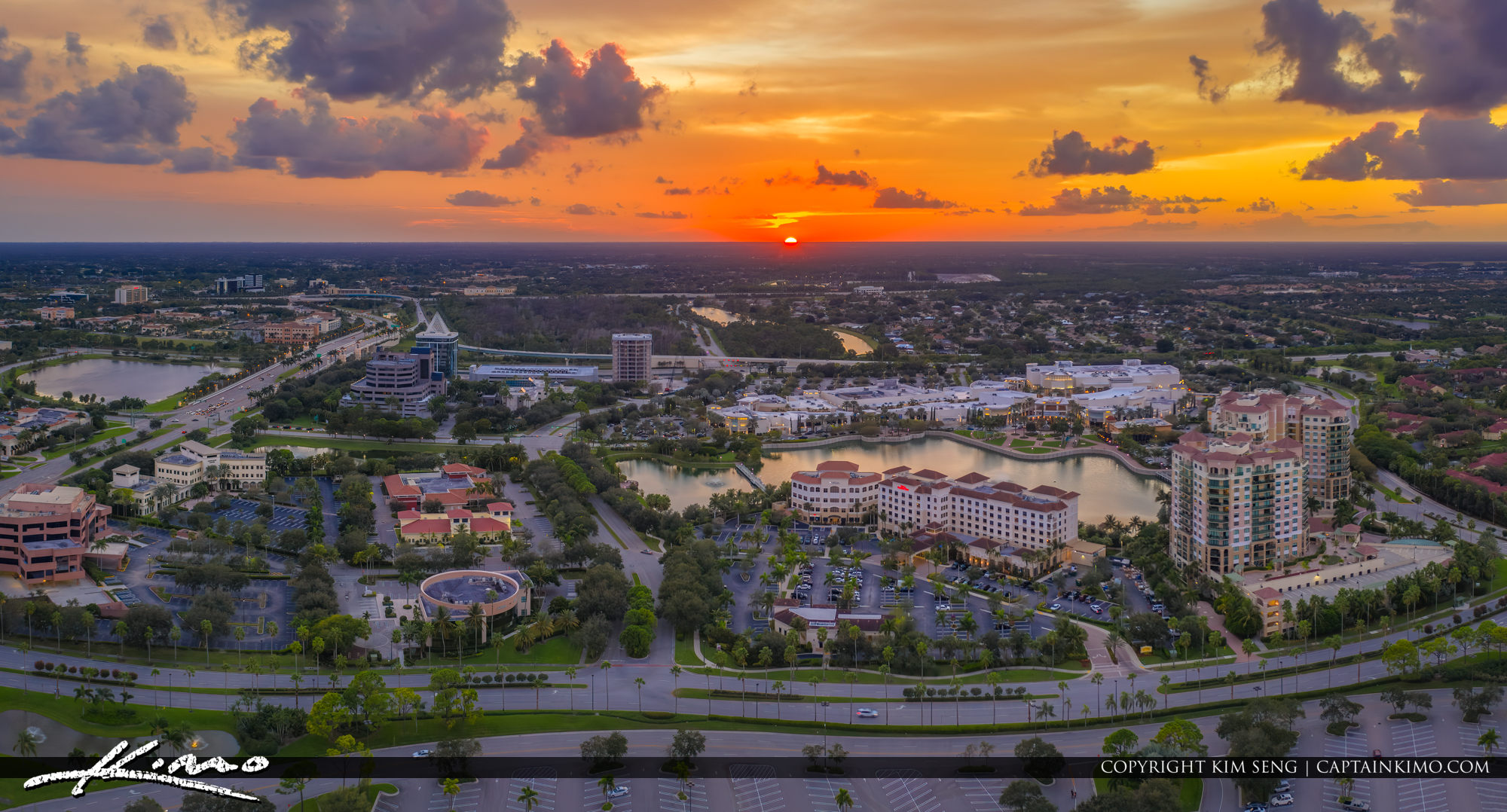 Palm Beach Gardens Downtown Wide Panorama Aerial