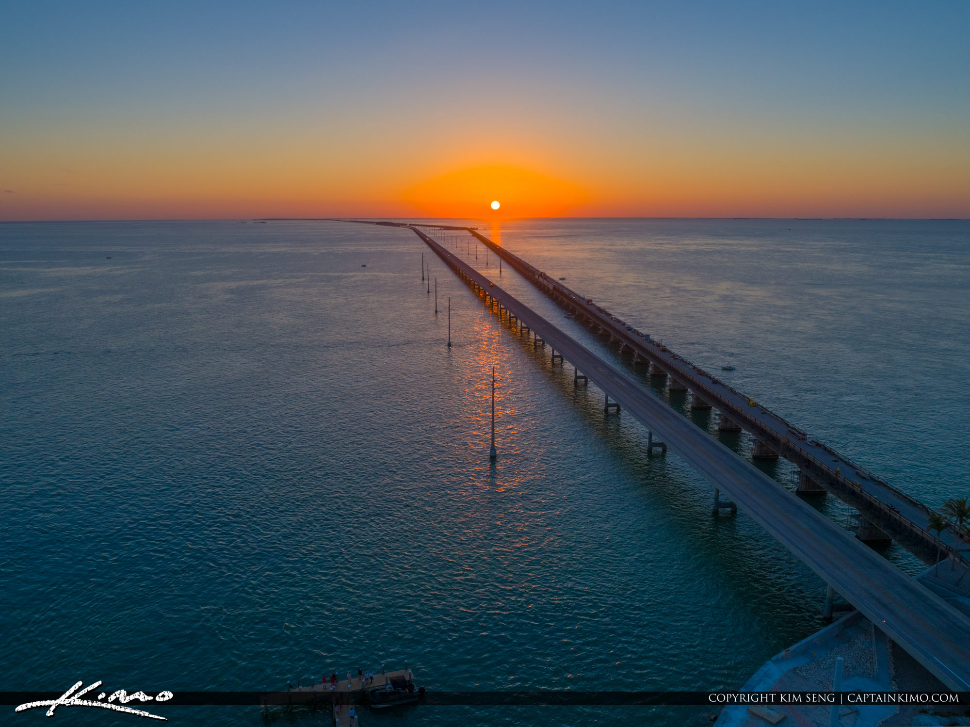 Sunset Over the Ocean Seven Mile Bridge Marathon Florida Keys
