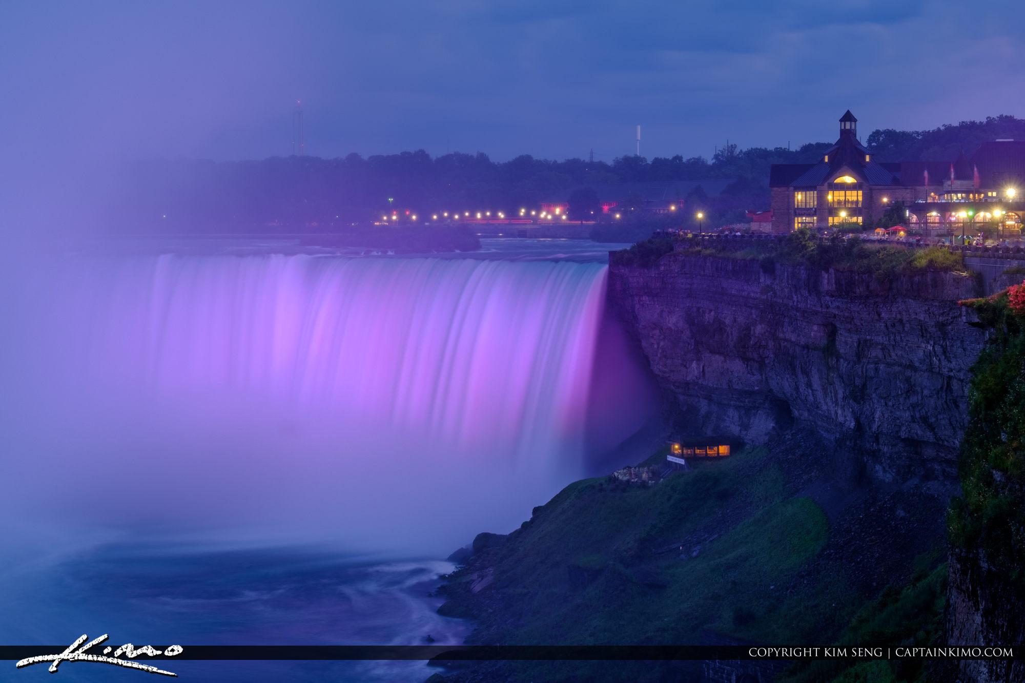 Niagara Falls Light Show Nighttime Canada Closeup Purple Lights