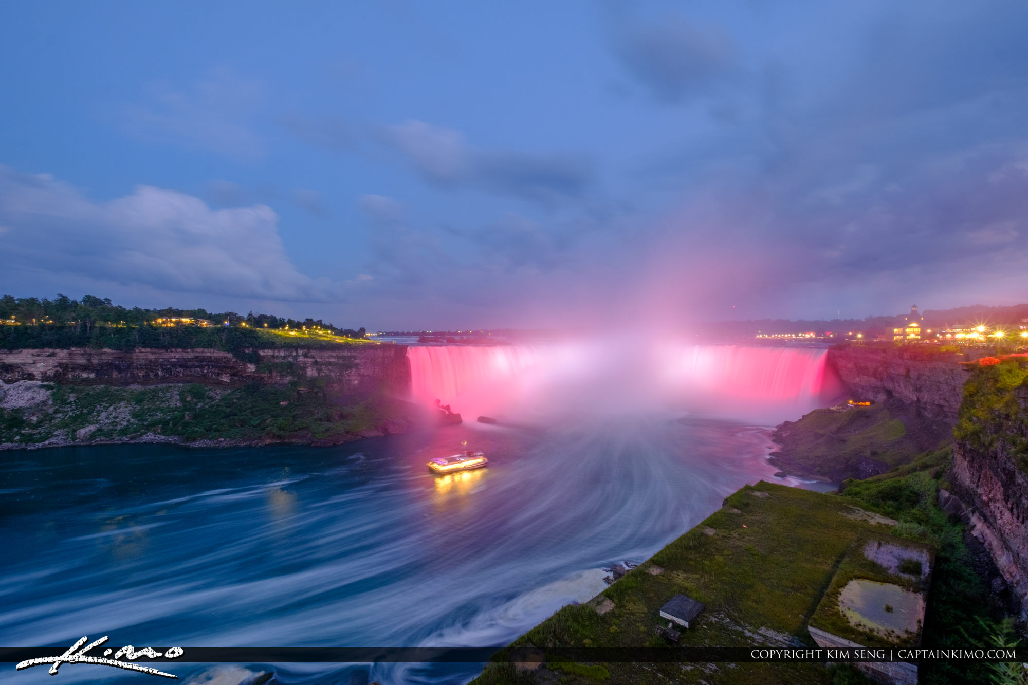 Niagara Falls Light Show Nighttime Canada Ferry Red Lights Long