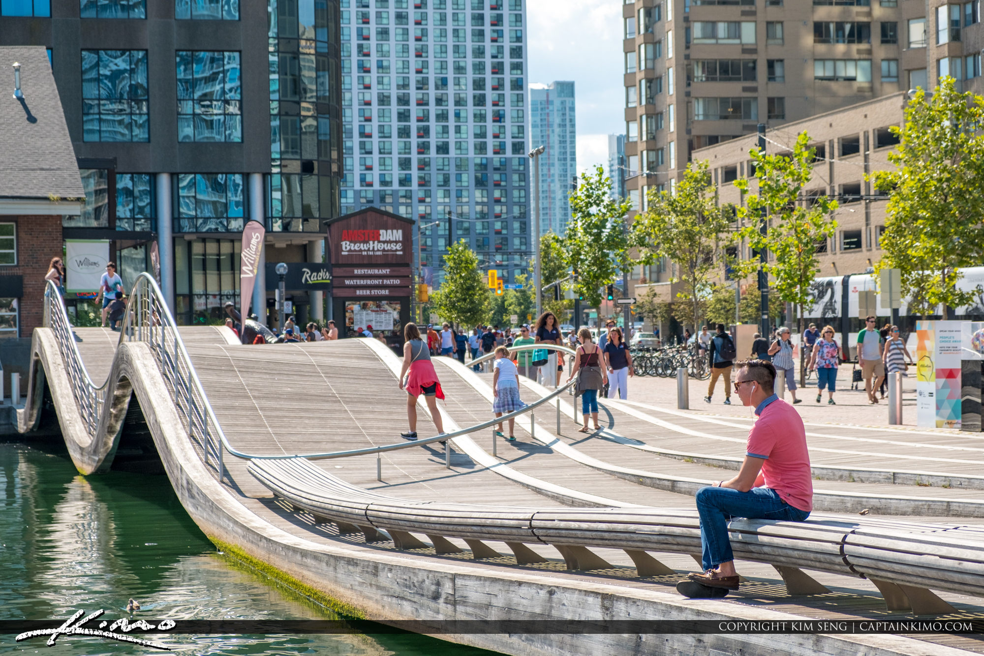 People on the Wavedeck Waterfront Toronto Ontario Canada