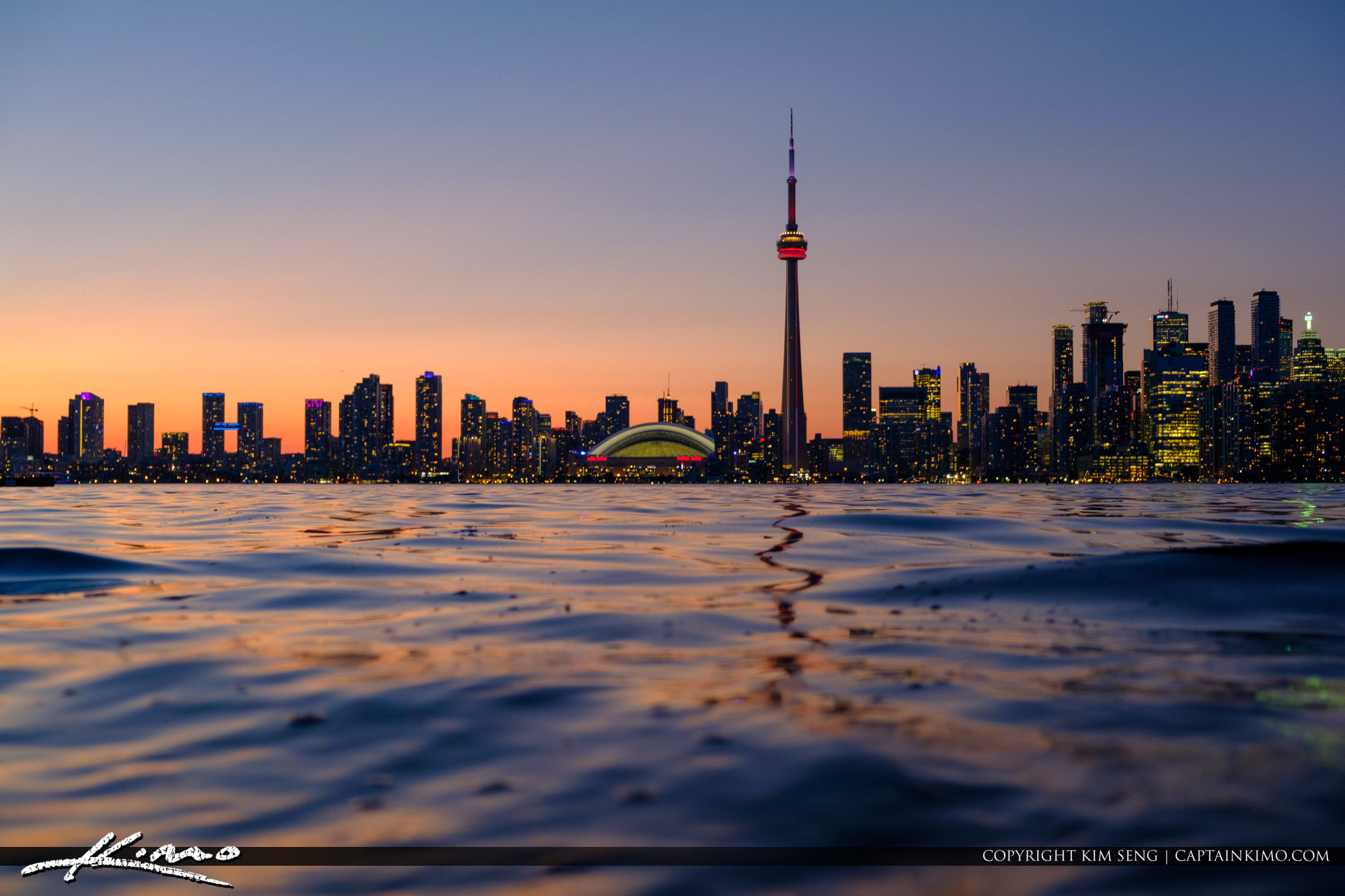Water Low Vantage Skyline View from Centre Island Sunset