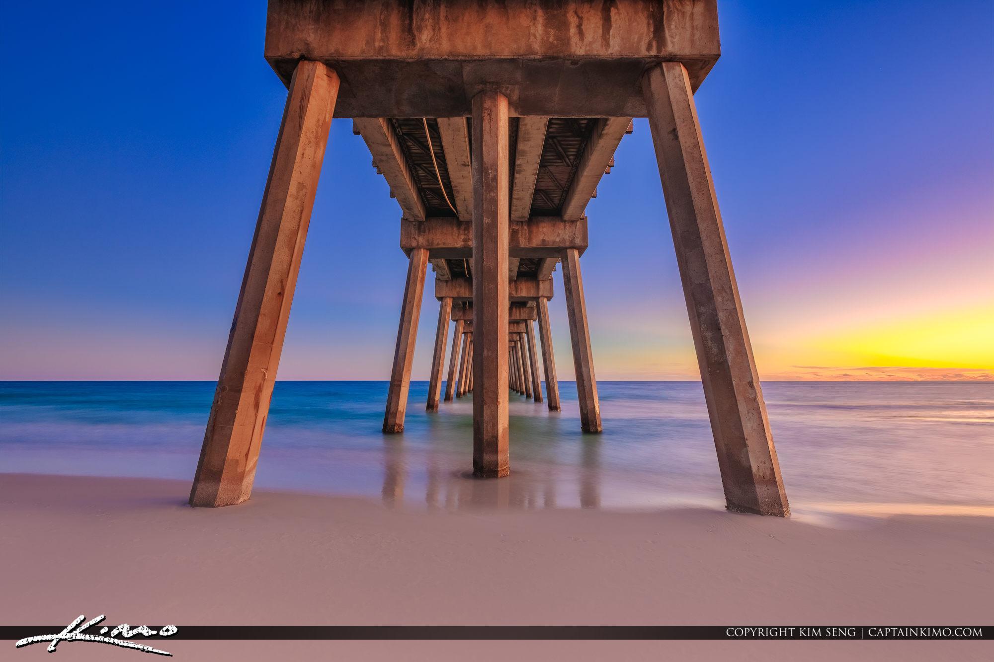 Pensacola Beach Gulf Pier from Under Sunset Florida