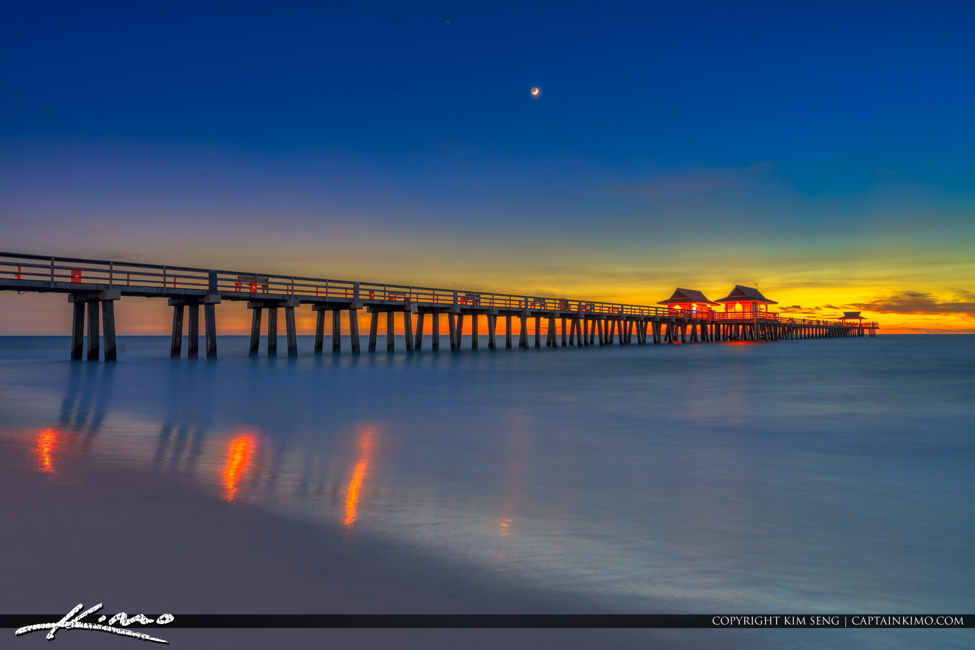 Naples Fishing Pier Sunset Over Gulf Coast Florida
