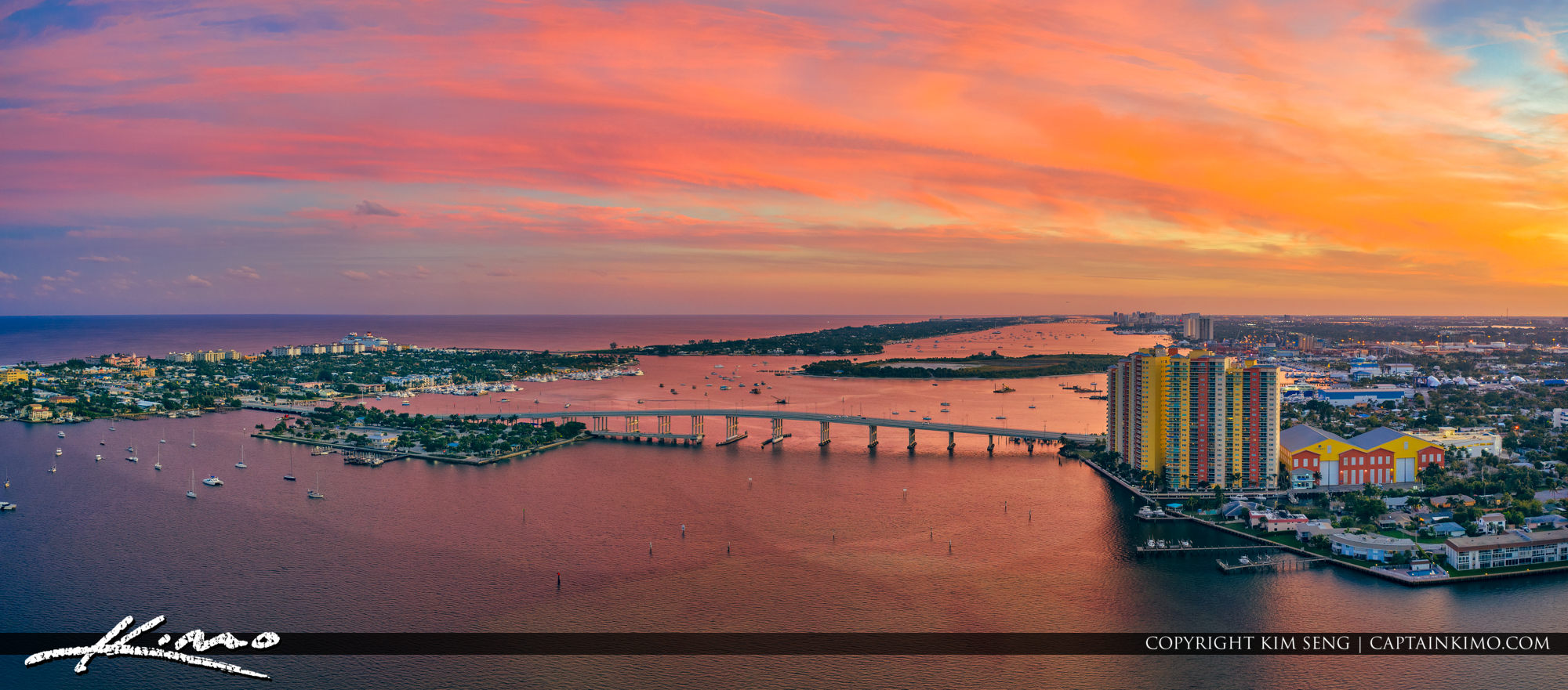 Singer Island Sunset Aerial Photo Panorama Blue Heron Bridge