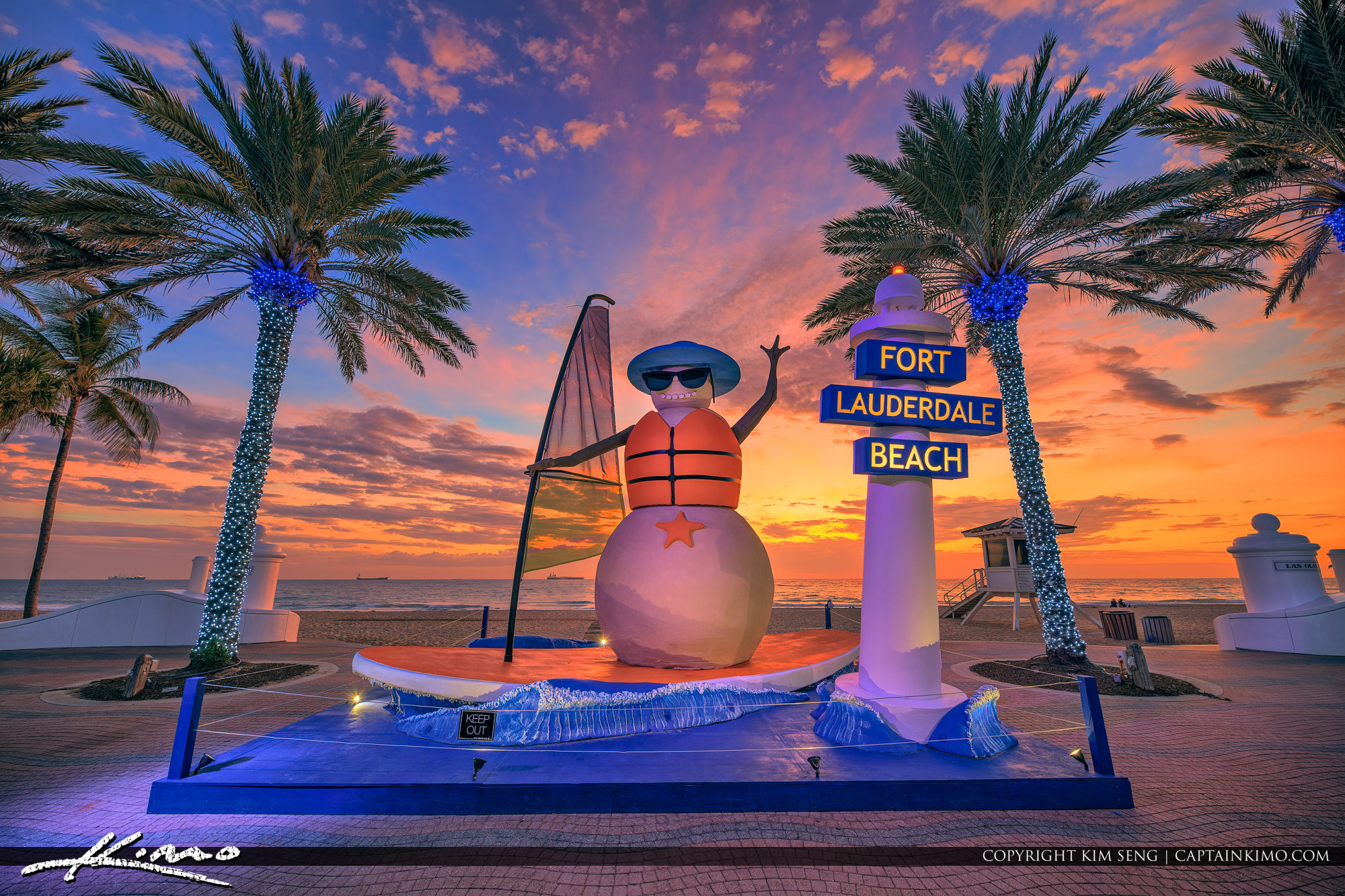 Snowman Christmas at Fort Lauderdale Beach Broward County Florida 2018