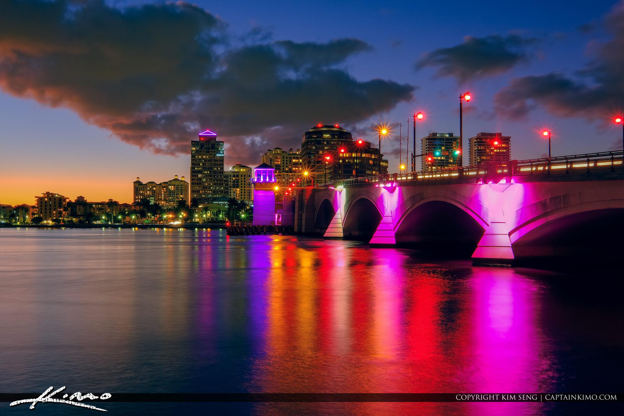 West Palm Beach Breast Cancer Awareness Royal Park Bridge Lights 2019
