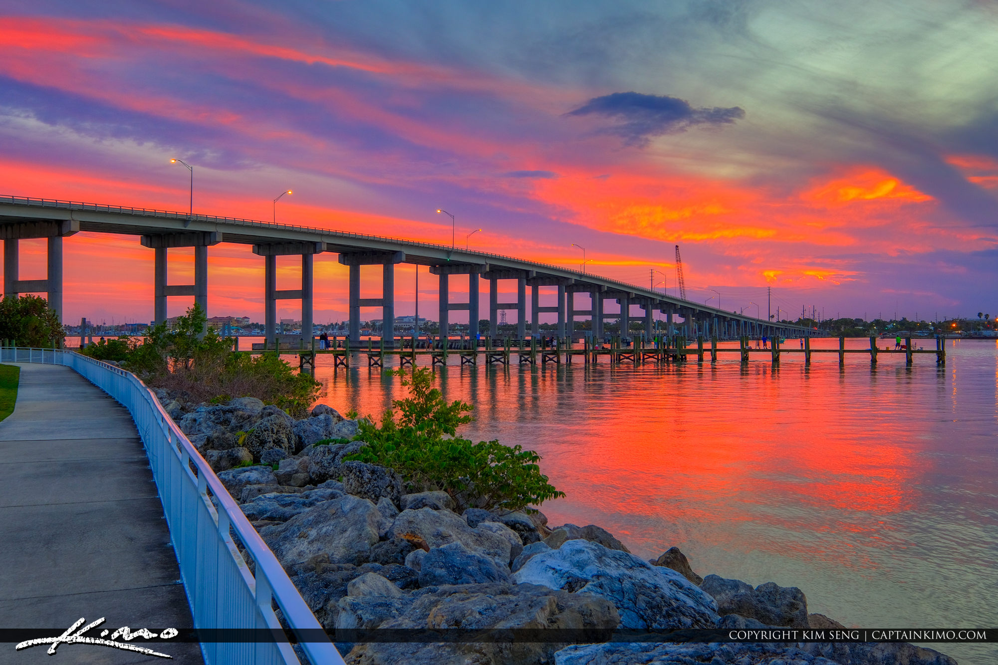 South Causeway Bridge Fort Pierce Florida St Lucie County Sunset