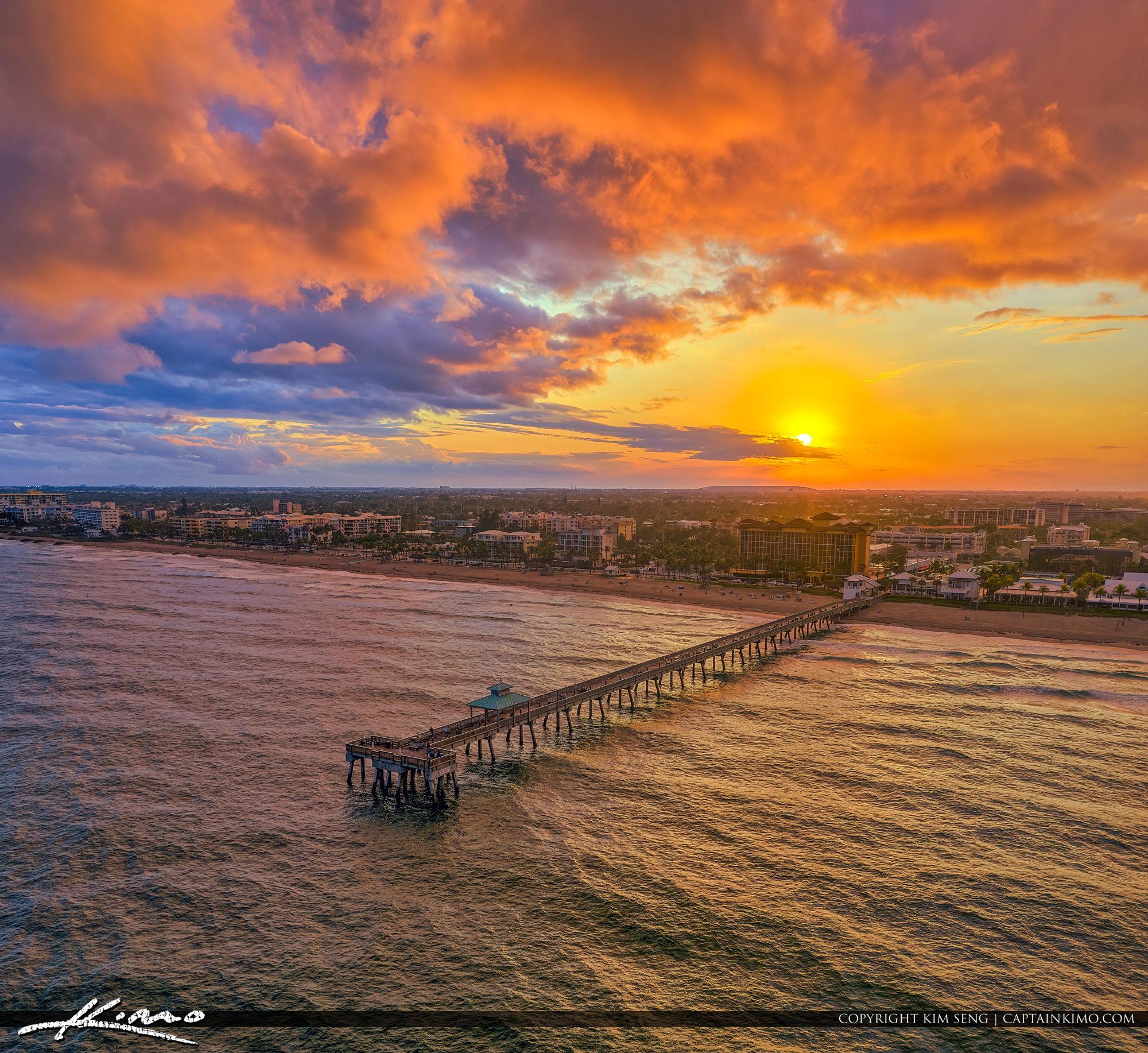 Deerfield Beach International Fishing Pier Sunset Aerial Photogr