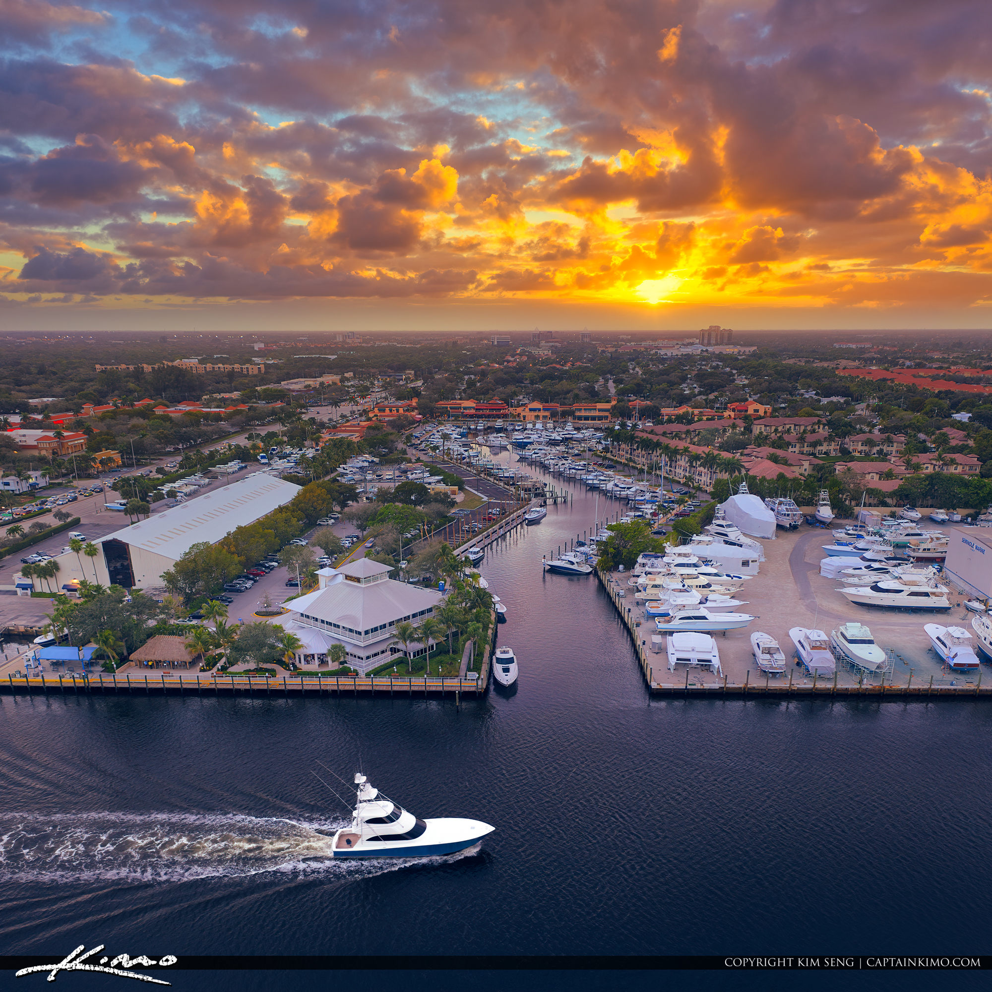 Palm Beach Gardens Marina Sunset with Yacht Along the Waterway