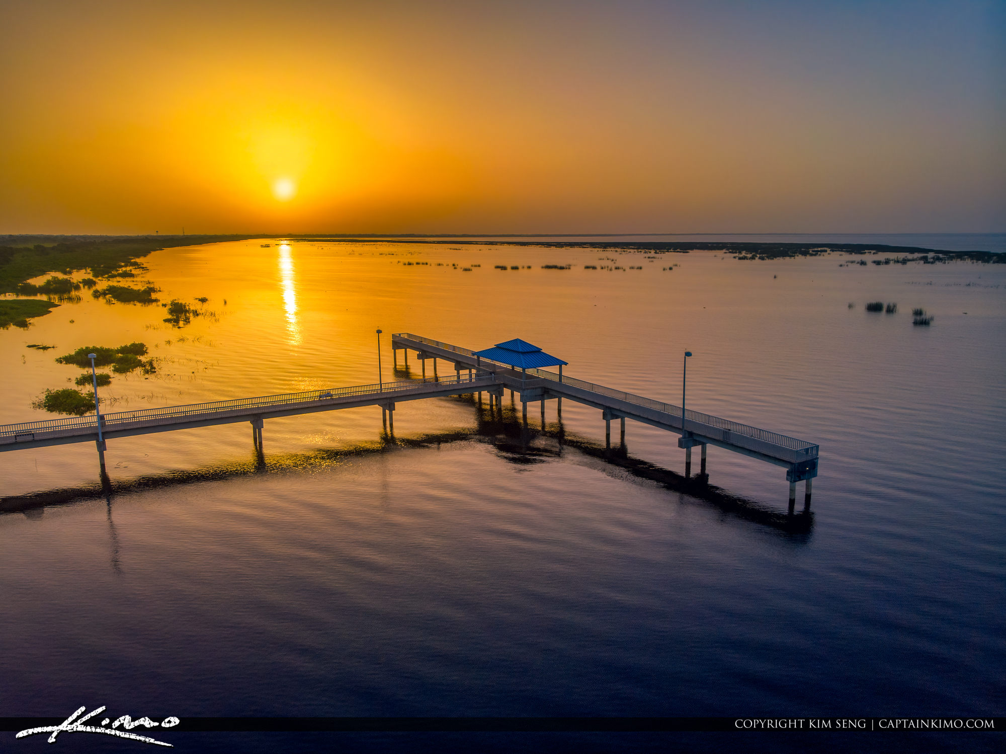 Lake Okeechobee Park Sunrise Aerial Closeup