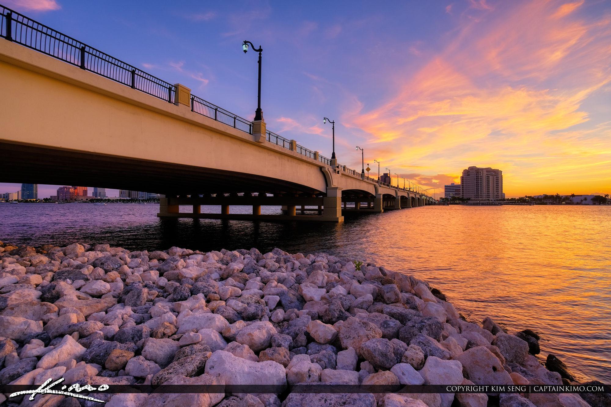 Flagler Bridge West Palm Beach Sunset Waterway