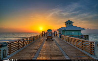 Juno Beach Pier Looking Down the Boardwalk Sunrise