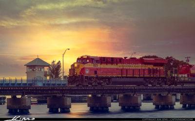 Florida East Coast Train at Bridge Downtown Stuart Florida