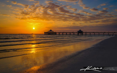Fort Myers Pier Sunset Over the Gulf Coast