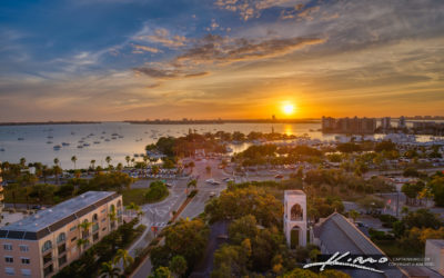 Sarasota Florida Sunset View Downtown Bayfront Park