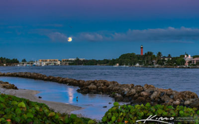 Jupiter Lighthouse Early Morning Moon Set at the Waterway