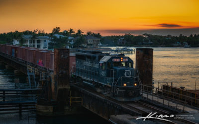 Florida East Coast Train Sunset at Jupiter Train Track