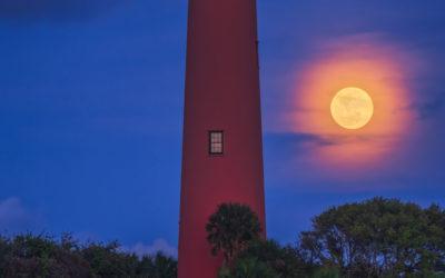Full Moon Rise Jupiter Lighthouse April 2021