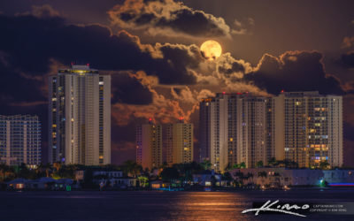 Full Moon Rise from Singer Island Florida Over the Condos