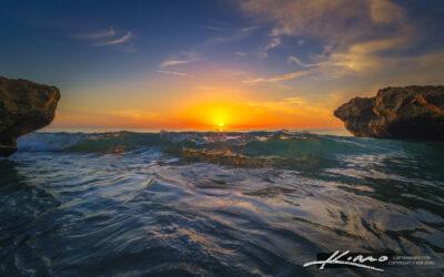 Coral Cove Park Sunrise Wave Break at the Beach