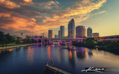 Tampa Skyline Downtown at the Waterway Early Morning Sunrise