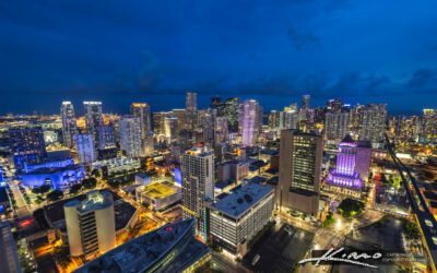 Night Time Downtown Miami Skyline from Apartment Balcony View