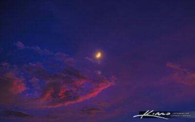 Crescent Moon Setting Over Florida Sky
