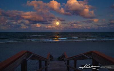 Full Moon Rise Jupiter Florida at Beach Access