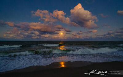 Atlantic Ocean Moon Rise at Beach